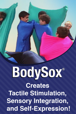 BodySox sensory stretchy sacks for tactile stimulation, sensory integration, creativity, dance, movement therapy, special needs, autism