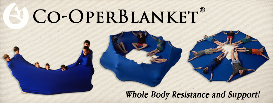Co-OperBlanket, group fitness, resistance bands, children movement therapy